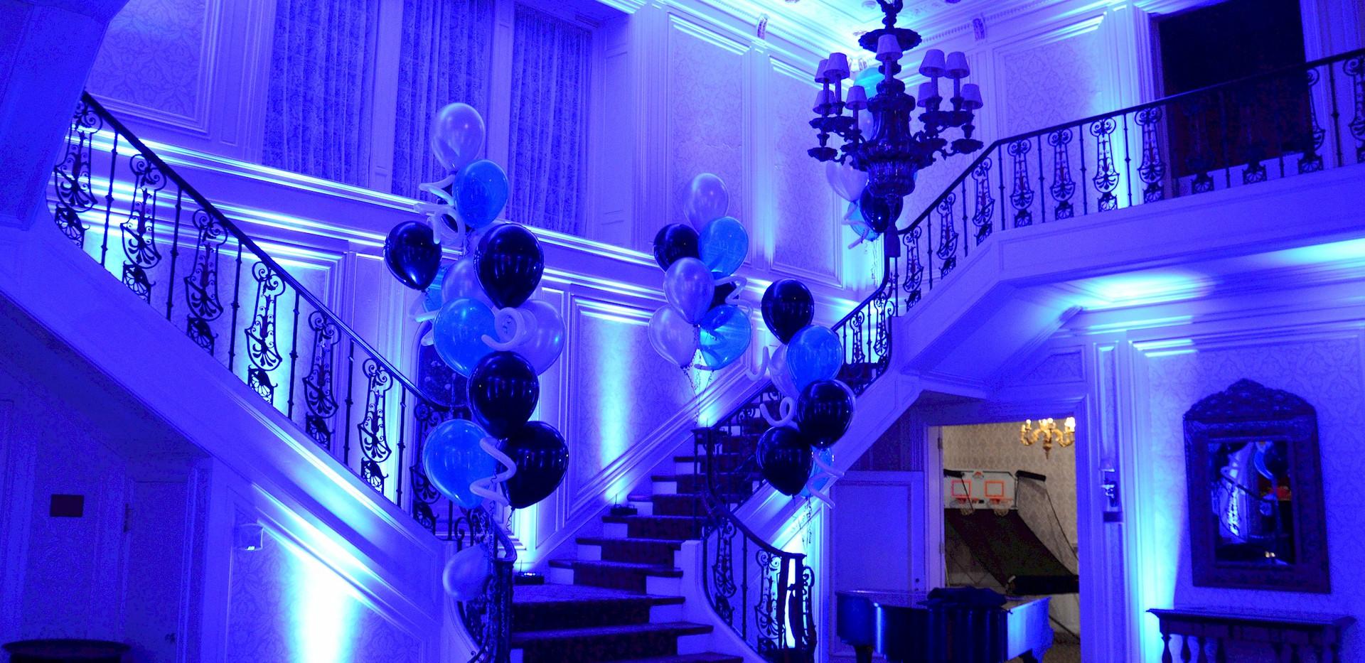 Blue house up-lighting