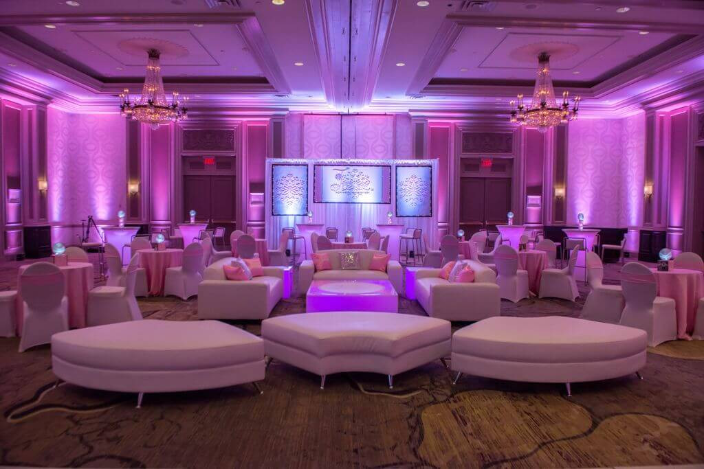 custom uplighting for a corporate event.