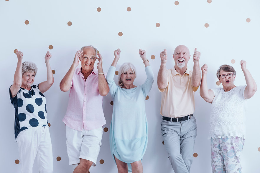 Enthusiastic Seniors Receiving ABI Support Coordination