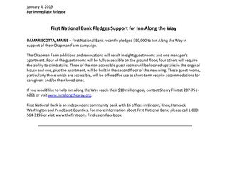 First National Bank Pledges Support