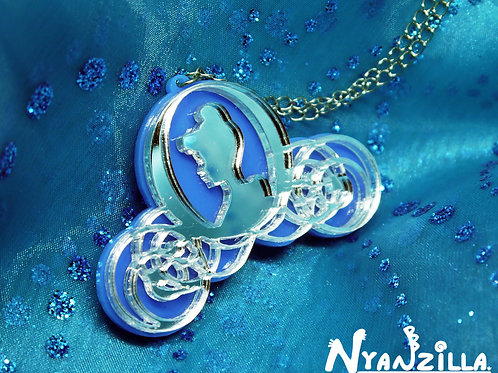 Cinderella Princess Midnight Magic Carriage Acrylic Necklace