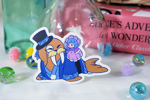 Vinyl Sticker: Walrus and Oyster