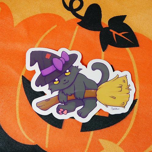 Halloween Midnight Witch Cat Vinyl Sticker
