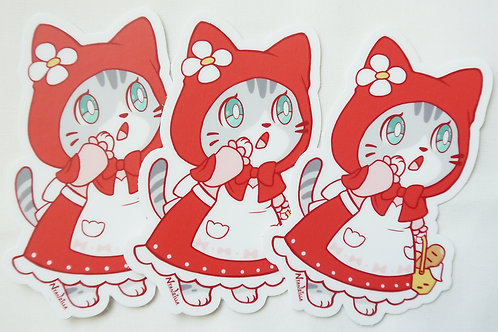 Vinyl Sticker: Little Red Riding Hood Cat