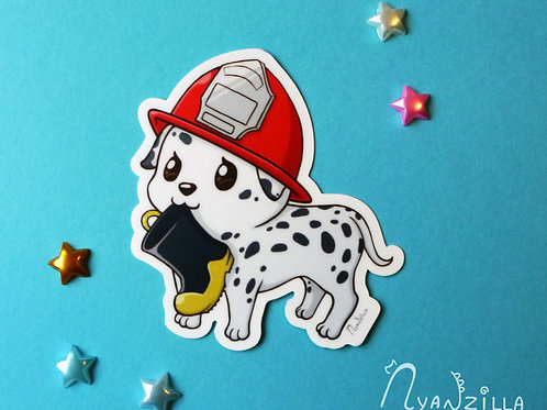 Fire Fighter Dalmation Dog Vinyl Sticker
