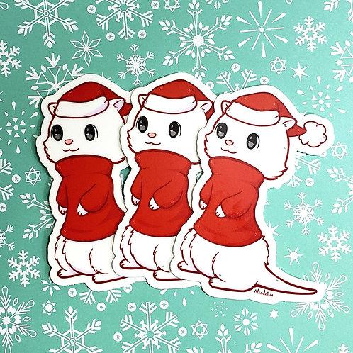 Vinyl Sticker: Christmas Ferret