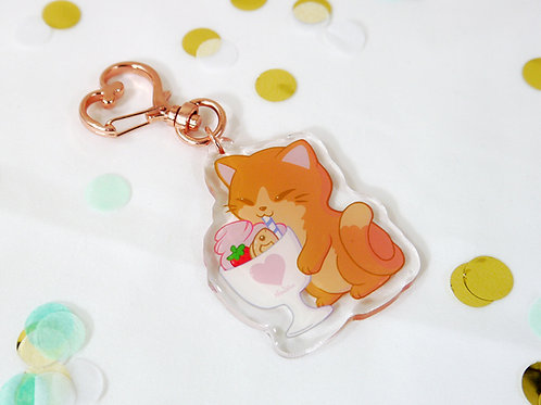 Acrylic Keychain: Caramel the Parfait Loving Cat