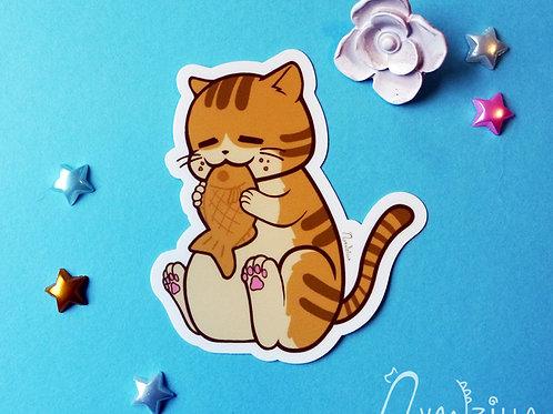 Japanese Taiyaki Tabby Cat Vinyl Sticker