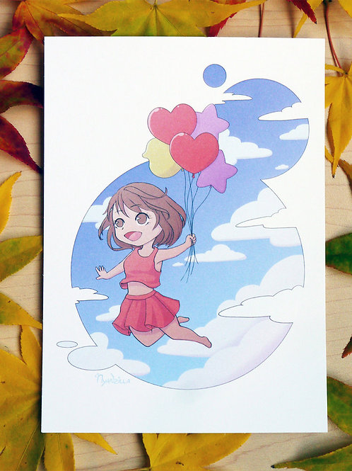 Chibi Girl with Balloon Print