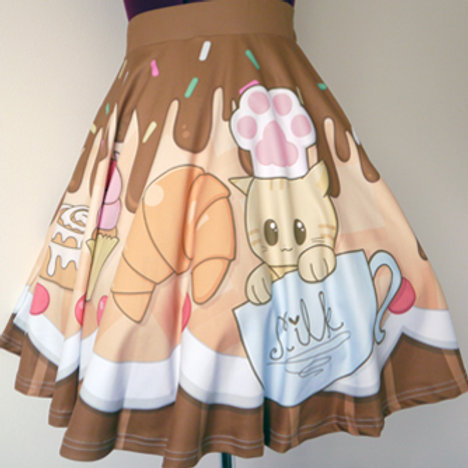 MADE TO ORDER: Sugary Cat Cafe Flare Skirt