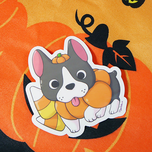 Halloween Pumpkin Boston Terrier Dog Vinyl Sticker