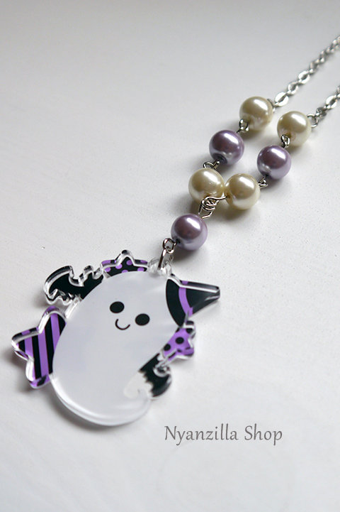 Kawaii Spooky Ghost Acrylic Necklace