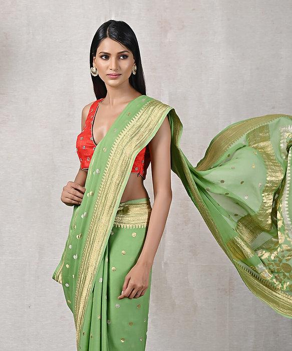 Light_Green_Handloom_Kadhwa_Banarasi_Georgette_Saree_with_Booti_Design_SRN2354_1.JPG