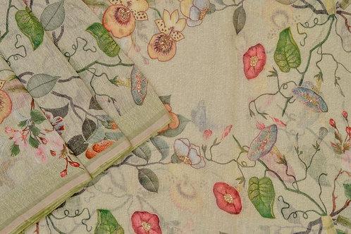 Amritha Printed Linen saree PSAM160002