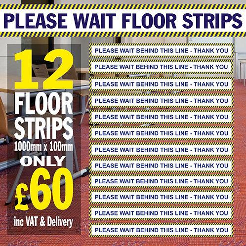 Pack of 12 Please Wait Here Floor Strips
