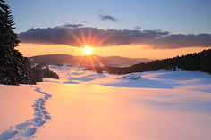 Winter sunset in the Jura Mountains - We