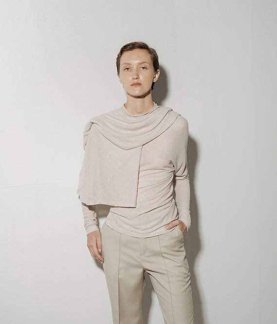 DECONSTRUCTED RIBBED KNIT TOP