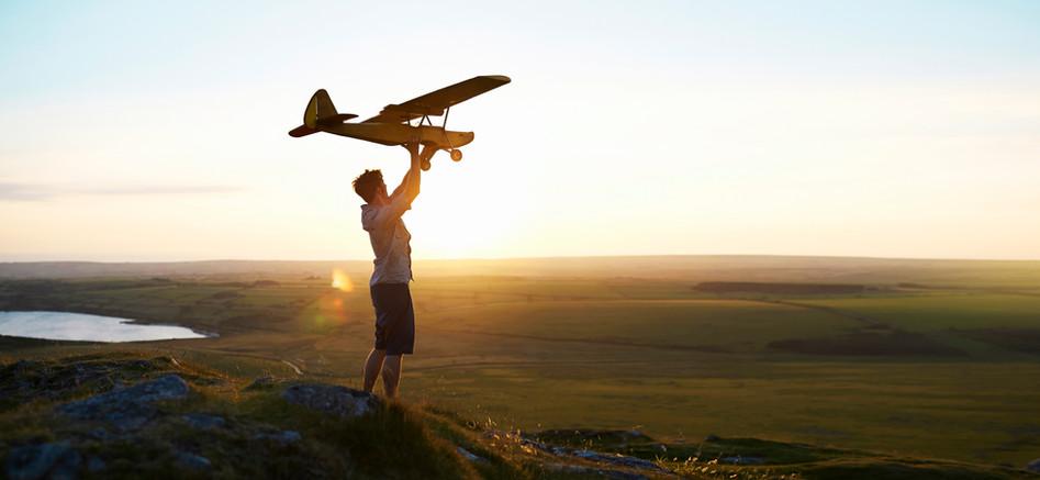 Man Preparing to Fly a Plane