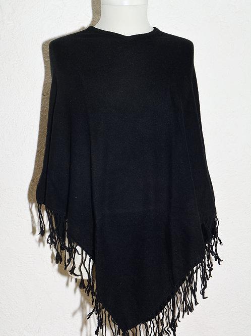 poncho cachemire laine fibres synthétiques franges noir automne hiver association Maili