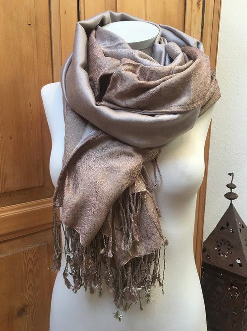 pashmina écharpe fibres mélangées beige brun épaisse création association Maili