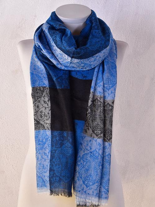 pashmina écharpe cachemire laine bleu noir ring shawl motif association Maili