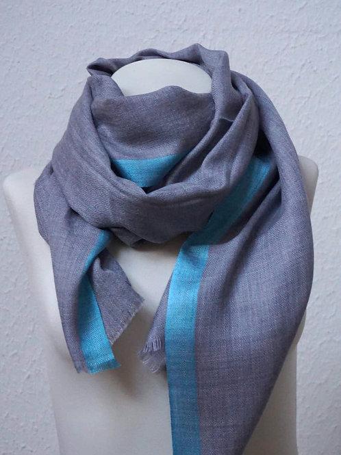 pashmina écharpe cachemire laine ring shawl bordure turquoise qualité association Maili