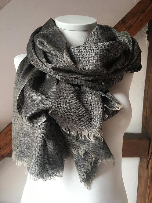 pashmina écharpe cachemire laine losanges noir taupe ring shawl sobre homme association Maili