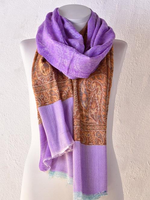 pashmina écharpe cachemire haute qualité laine mauve violet fin ring schawl association Maili