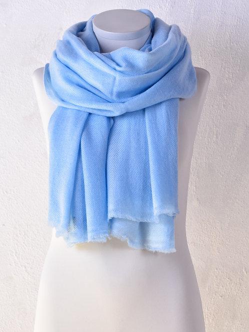 pashmina écharpe châle couverture cachemire laine  bleu clair qualité hiver association Maili