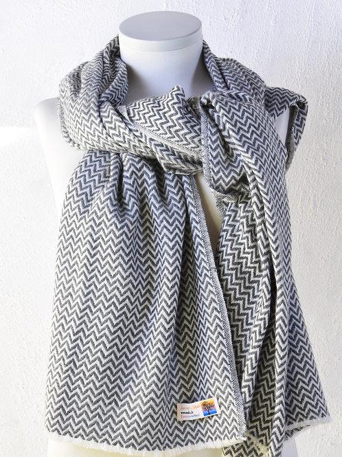 pashmina écharpe châle cachemire laine gris foncé chaude épaisse tissage huit plis zig zag association Maili