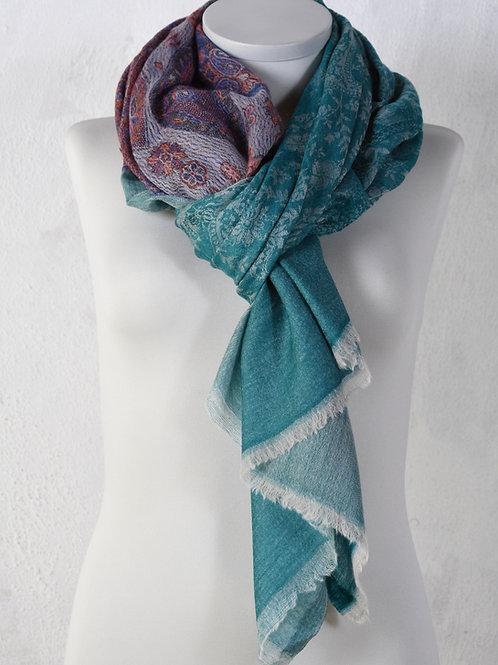 pashmina écharpe cachemire haute qualité laine bleu turquoise fin ring schawl association Maili