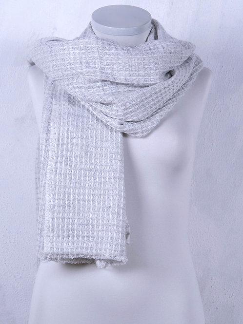 pashmina écharpe châle cachemire laine gris perle chaude épaisse tissage huit plis association Maili