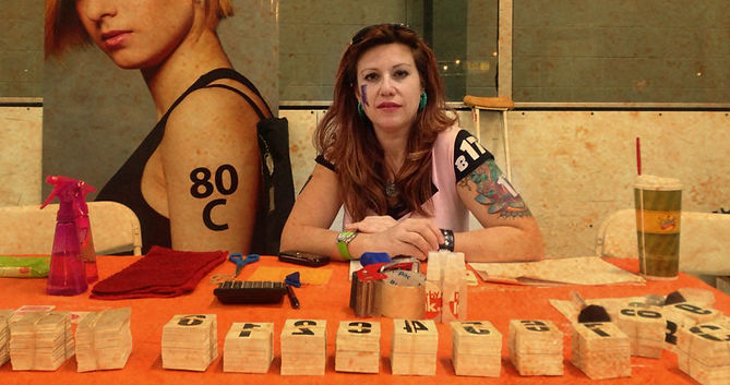 My Derby Ink booth with Tattoo arm numbers. You can find My Derby Ink on ETSY too!