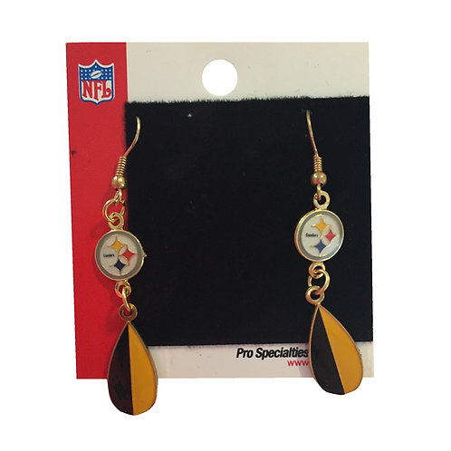 Pittsburgh Steelers Emblem & Teardrop Design Earrings