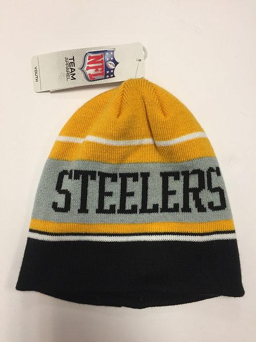 Pittsburgh Steelers 3 Striped Beanie Hat