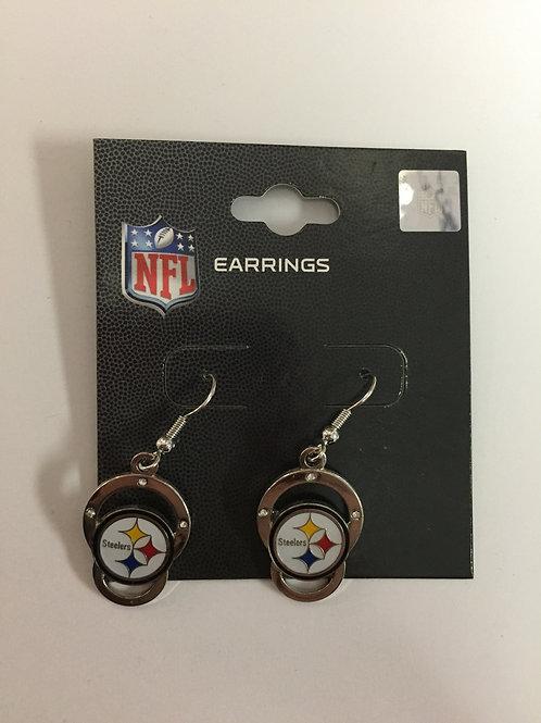 Pittsburgh Steelers Silver Emblem Earrings