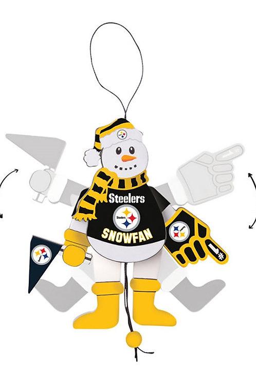 Pittsburgh Steelers WoodenPull String Snowman