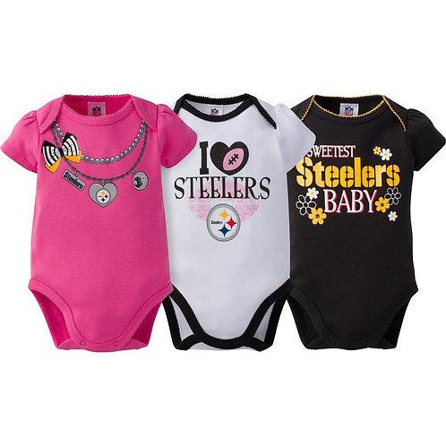 Pittsburgh Steelers Baby Onesie 3 Pack 3-6M