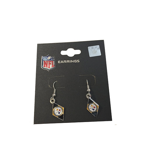 Pittsburgh Steelers Black & Gold Diamond Shaped Earrings