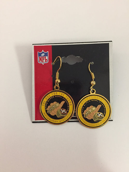 Pittsburgh Steelers 'The One For The Thumb' Earrings