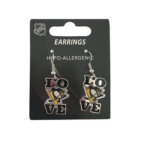 Pittsburgh Penguin Love Earrings