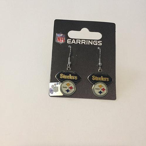 Pittsburgh Steelers Emblem & Black Football Earrings