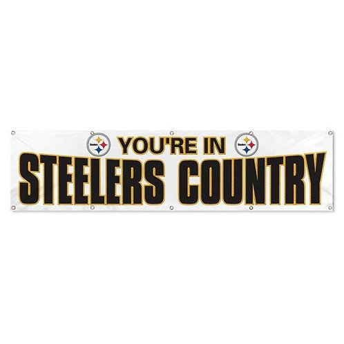 'You're in Steelers Country' 12' White Banner