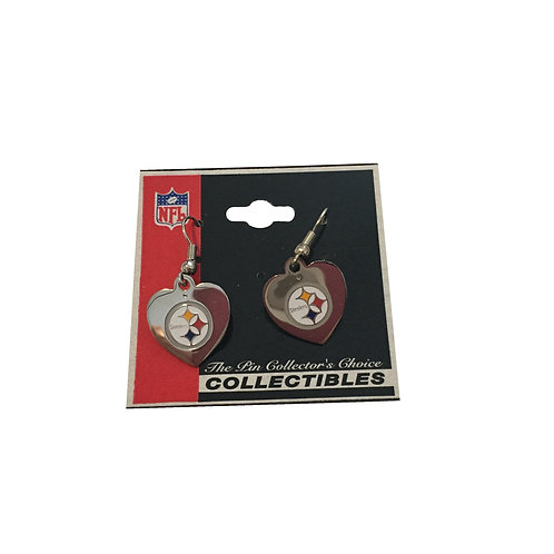 Pittsburgh Steelers Reflective Heart Earrings