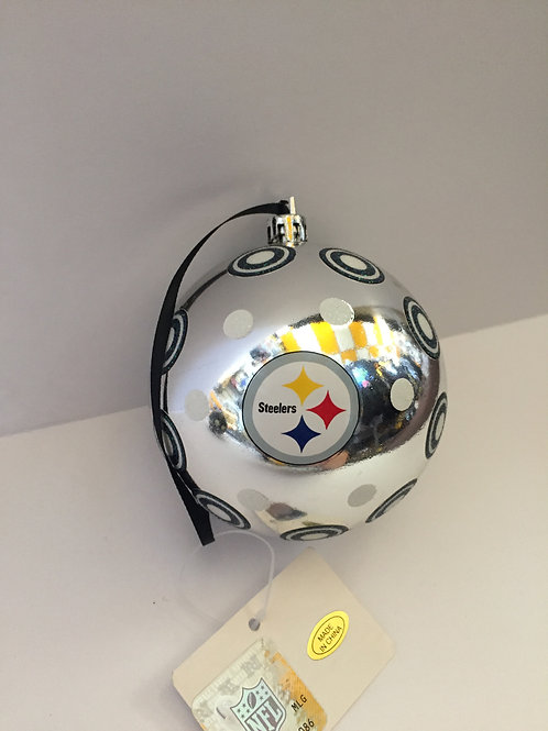 Silver Mirrored Steelers Ball Ornament