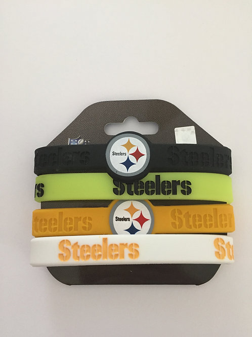 Pittsburgh Steelers 4 Pack Silicone Bracelets