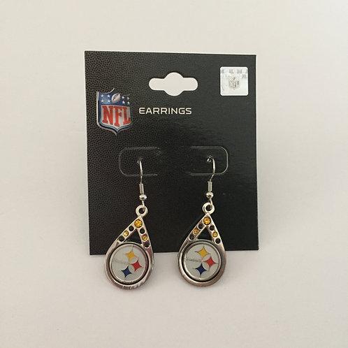Pittsburgh Steelers Tear Drop Gem Earrings