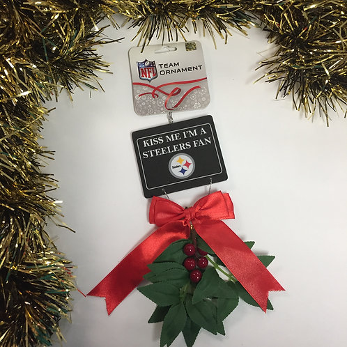 Kiss Me I'm a Steelers Fan,  Mistletoe Christmas Ornament.