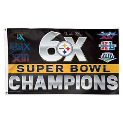 Pittsburgh Steelers 6X Super Bowl Flag