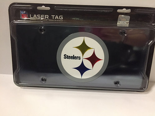 Pittsburgh Steelers Black Laser Tag Plate with Steeler Emblem- License Plate